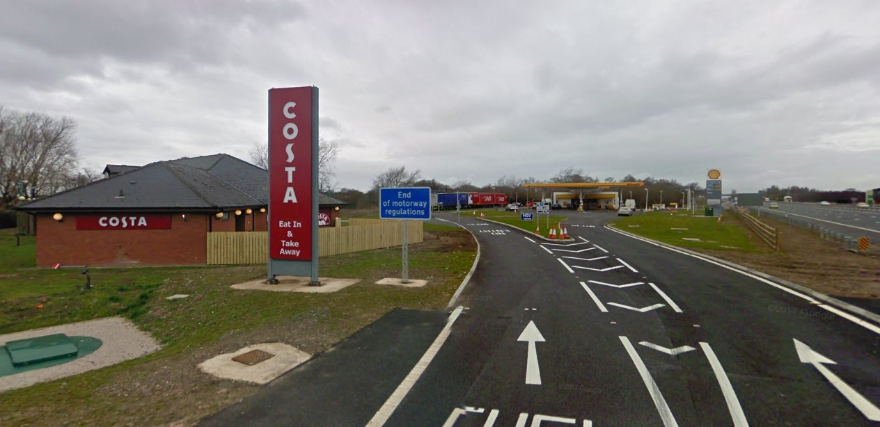 BOTTOM: Todhills North Service Station on the M6 was ranked the worst in the UK, along with Todhills South              Photo: Google Maps