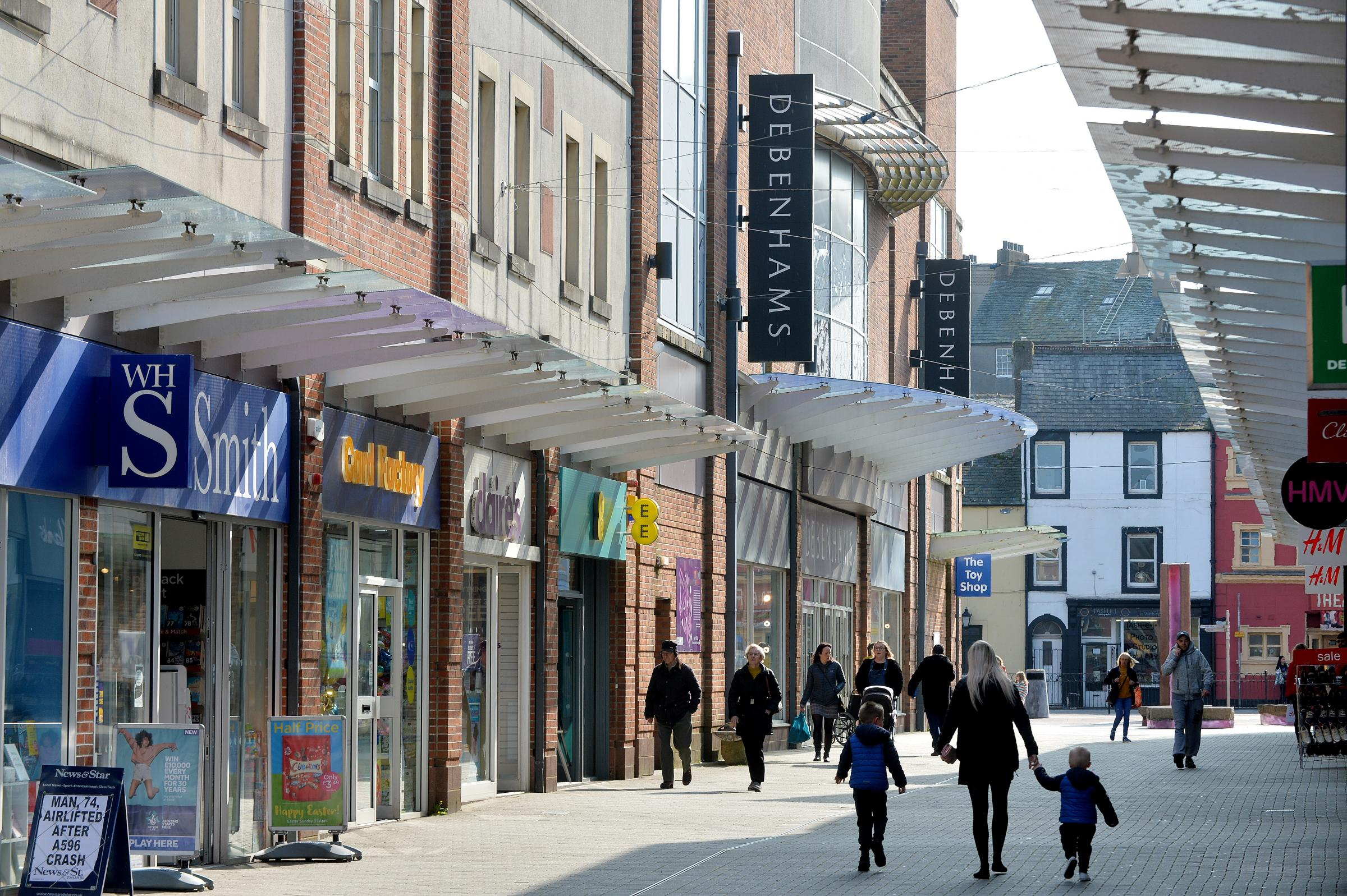 WORRIES: It is not known if Workington's Debenhams branch will stay open but leading politicians have pledged to fight for the town centre to stay alive TOM KAY