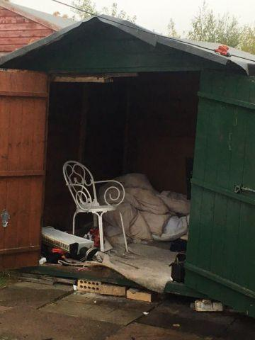 The 6ft shed in north Carlisle where the man was discovered
