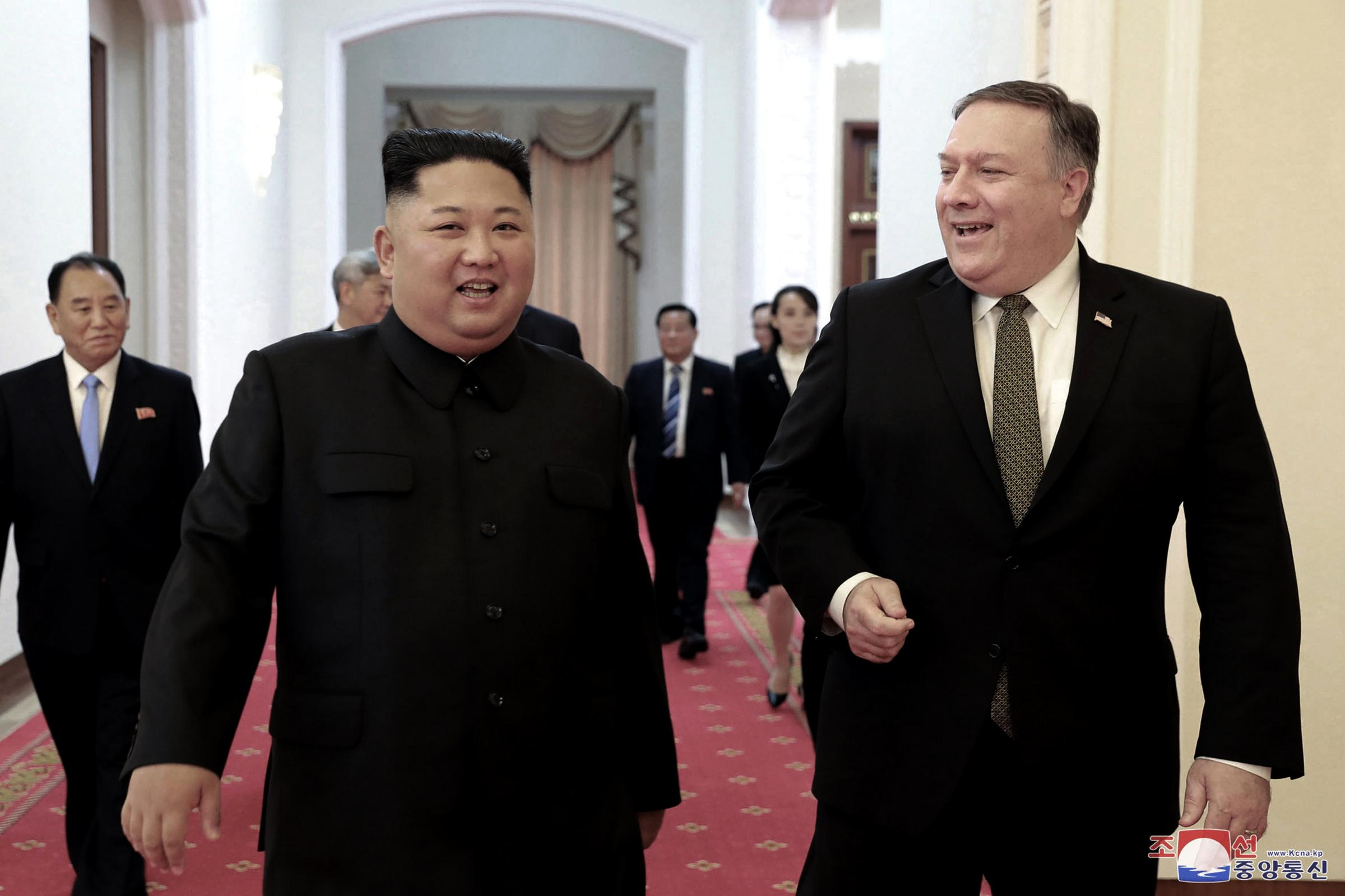 Kim Jong Un with US secretary of state Mike Pompeo
