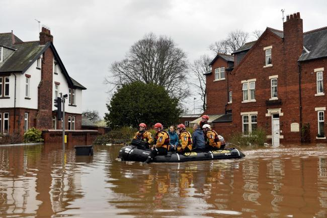 Carlisle floods 2015. The rescue operation continues on Warwick Road and the surrounding street to rescue residents who have remained in their homes. The area flooded after Storm Desmond hit Cumbria and the wider region with gale force winds and torrentia