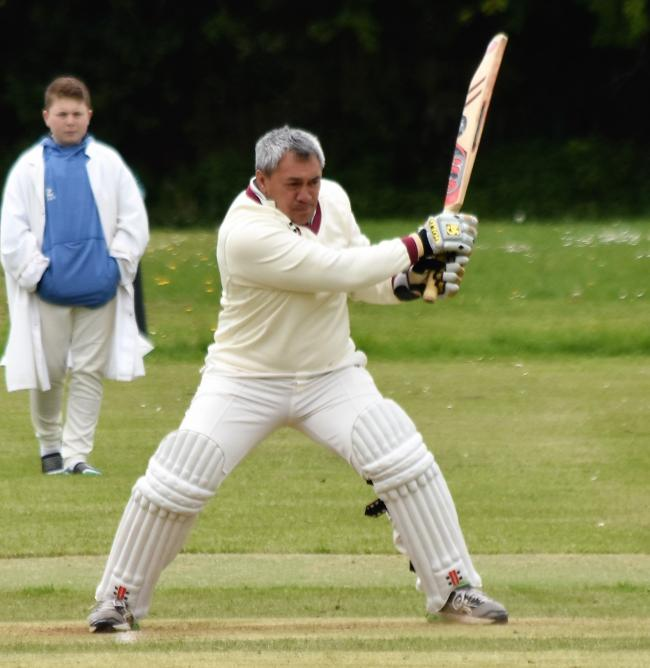 Hitting out: Wigton 3rds' Tane Manihera drives for the boundary against Stainton 2nds (Photo: Ben Challis)