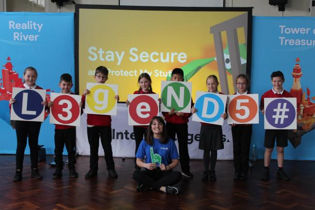 Safe surfing: Brampton Primary children with a Google online safety expert.
