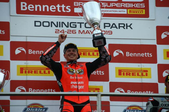 Historic treble: Be Wiser Ducati's Scott Redding at Donington (Photo: Double Red Photographic)