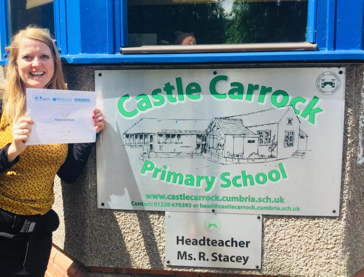Forefront of change: Castle Carrock Primary School headteacher Rebecca Stacey has been given UN accreditation to teach climate change to pupils - one of the first in the country