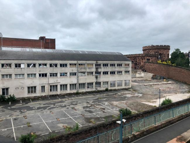 SITE: Work to provide a temporary 90-space car park on the site of the former Lonsdale Building at the rear of the Citadel in Carlisle will begin next week                 Picture: Kris Tatum     JUNE 12 2019
