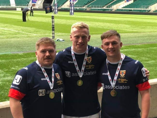 Cumbria heroes: From left, Carlisle Rugby Club trio Tom Graham, Henry Wainwright and James Telford at Twickenham (Photo: George Telford)